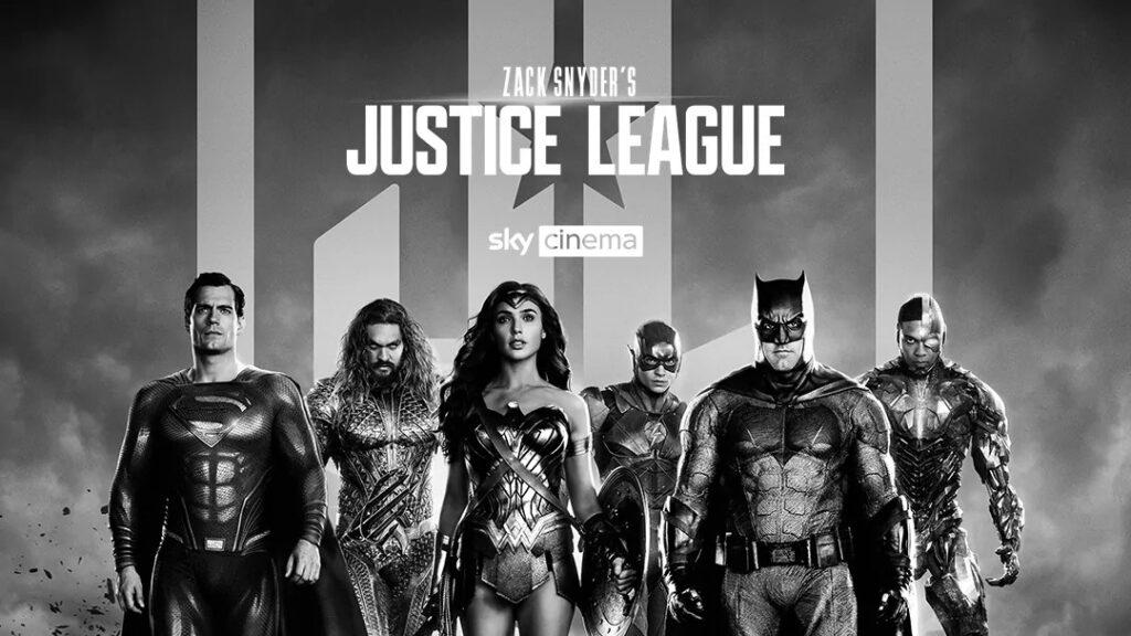 Poster Sky Italia del film Justice League Snyder Cut.